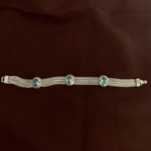 Silver Four-Strand Jeweled Bracelet